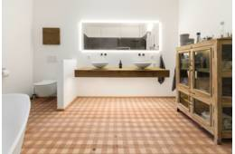 Bathrooms/Wellness - EICHE Country Carving Check I gebuerstet weiss geoelt